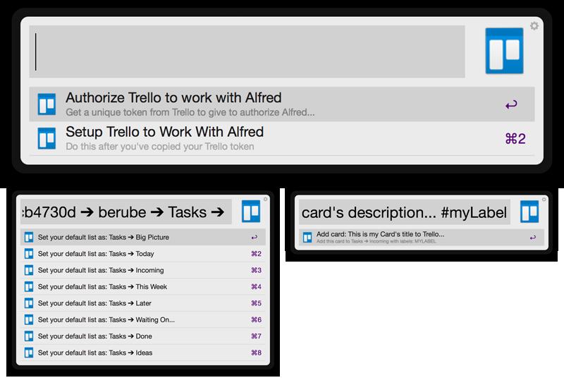 Trello for Alfred Workflow Screenshot